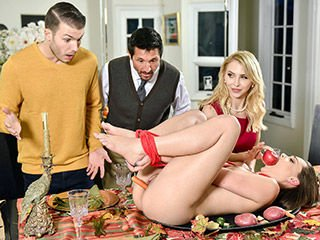 Alix Lynx and Aften Opal Family Friendly Thanksgiving Fuck Fest