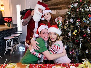 Charlotte Sins and Summer Hart Christmas Family Orgy